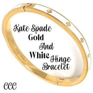 Kate Spade White and Gold Hinged Bracelet NWT